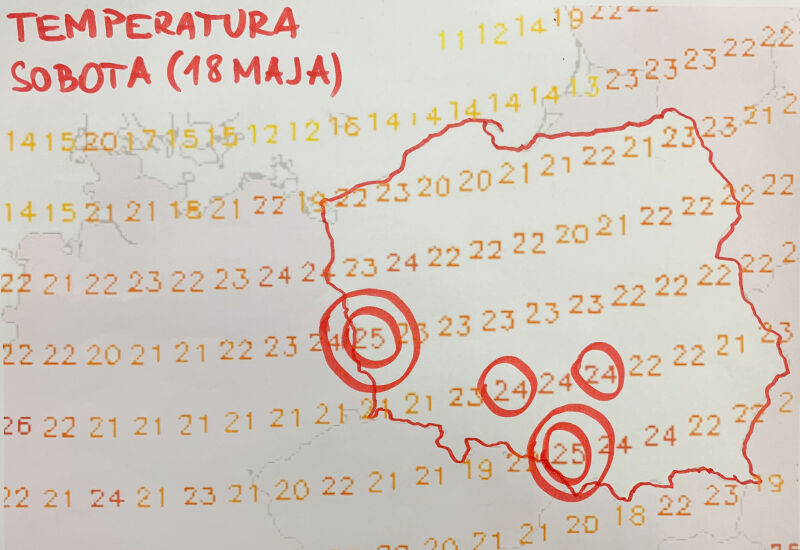 Prognoza temperatury na sobotę 18 maja