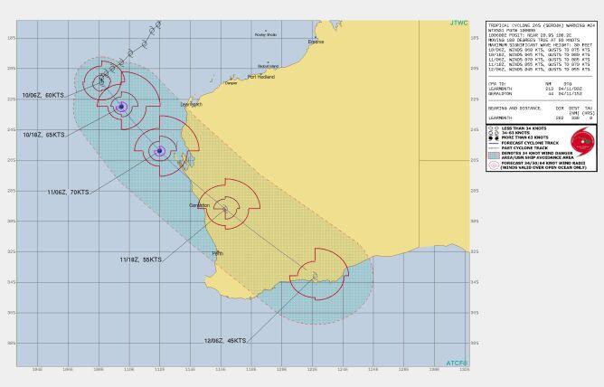 Prognozowana trasa przejścia cyklonu Seroja (Joint Typhoon Warning Center)