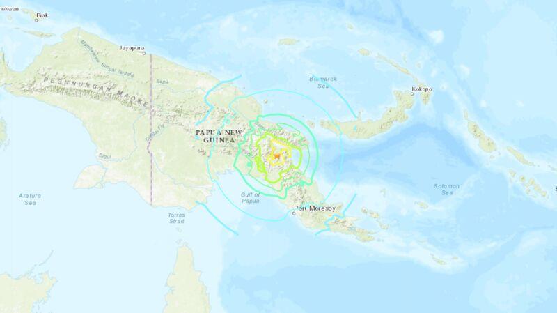 Trzęsienie ziemi w Papugi-Nowej Gwinei (USGS)