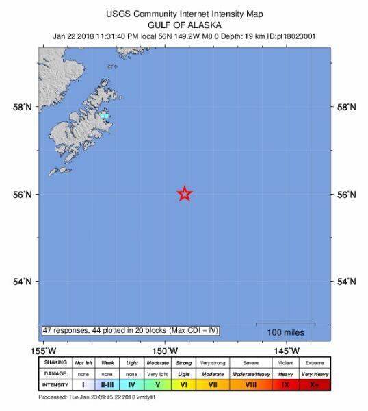 Mapa intensywności trzęsienia ziemi na Alasce